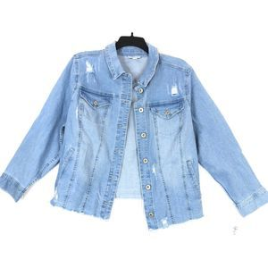 Style & Co Plus jacket denim destructive distress